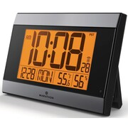 Atomic Digital Wall Clock w/ Auto-Night Light, Temperature & Humidity - Batteries Included