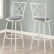 Monarch Specialties Inc. Bar Stool with Cushion (Set of 2); White / Gray