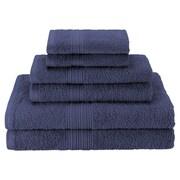 Simple Luxury Superior 6 Piece Towel Set; Navy Blue