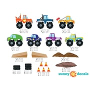 Sunny Decals 18 Piece Monster Trucks Wall Decal Set; Large