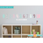 Sunny Decals 11 Piece Modern Numbers Wall Decal Set; Pink/Gray/Light Blue