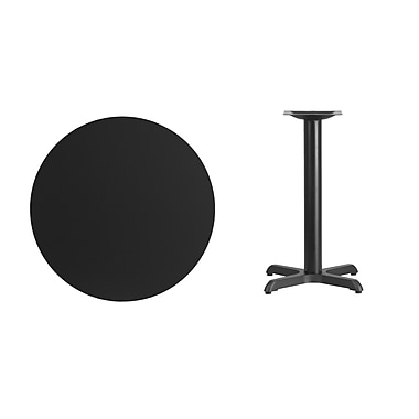 Flash Furniture 30'' Round Laminate Table Top, Black with 22'' x 22'' Table-Height Base (XURD30BKT2222)