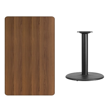 Flash Furniture 30'' x 48'' Rectangular Laminate Table Top, Walnut with 24'' Round Table-Height Base (XUWA3048TR24)