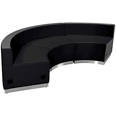 Flash Furniture – Mobilier de réception HERCULES Alon en cuir noir, 3 modules (ZB803740SBK)