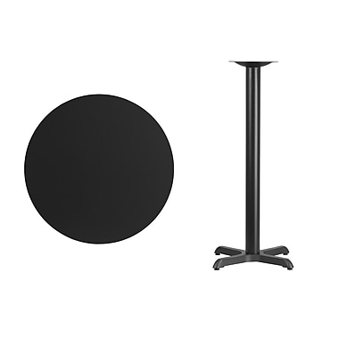 Flash Furniture 30'' Round Laminate Table Top with 22'' x 22'' Bar-Height Table Base, Black (XURD30BKT2222B)