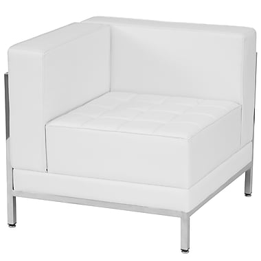 Flash Furniture Hercules Imagination Series Contemporary Leather Left Corner Chair, White with Encasing Frame (ZBIMAGLFTCNRWH)