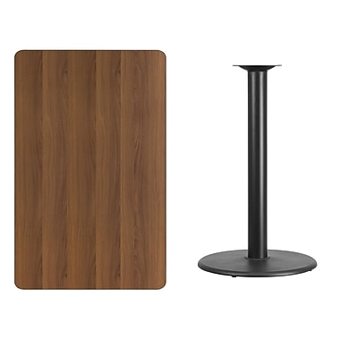 Flash Furniture 30'' x 48'' Rectangular Laminate Table Top, Walnut with 24'' Round Bar-Height Table Base (XUWA3048TR24B)