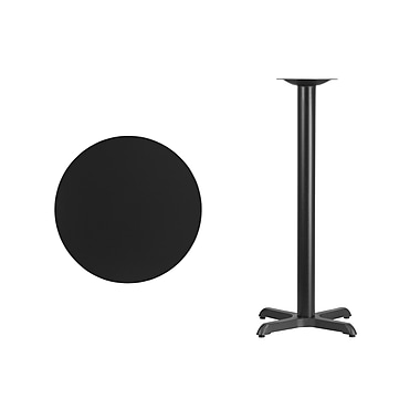Flash Furniture 24'' Round Laminate Table Top, Black with 22'' x 22'' Bar-Height Table Base (XURD24BKT2222B)