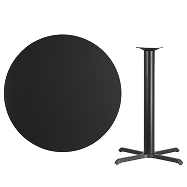 Flash Furniture 42'' Round Laminate Table Top, Black with 33'' x 33'' Bar-Height Table Base (XURD42BKT3333B)