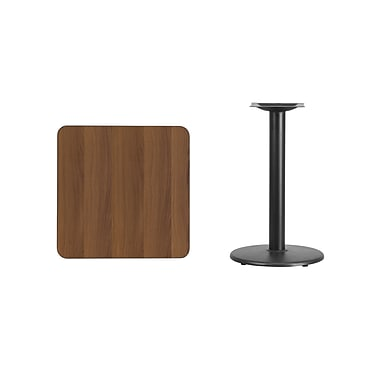 Flash Furniture 24'' Square Walnut Laminate Table Top with 18'' Round Table Height Base, Black Finish (XUWA2424TR18)