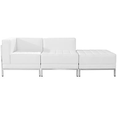 Flash Furniture Hercules Imagination Series Leather 3 Piece Chair and Ottoman Set in White (ZBIMAGSET6WH)
