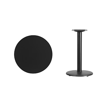 Flash Furniture 24'' Round Laminate Table Top, Black with 18'' Round Table-Height Base (XURD24BKTR18)