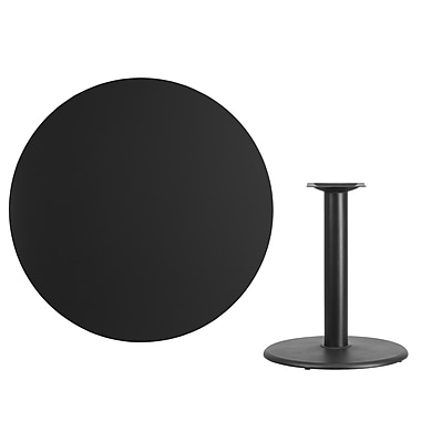Flash Furniture 42'' Round Laminate Table Top, Black with 24'' Round Table-Height Base (XURD42BKTR24)