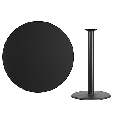 Flash Furniture 42''L Round Table with 24''W Round Bar Height Base, Black Laminate (XURD42BKTR24B)