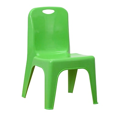 Flash Furniture Plastic Stackable School Chair, Green with Carrying Handle and 11'' Seat Height (YUYCX011GREEN)