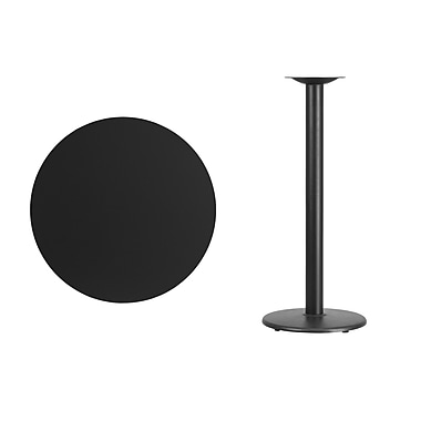 Flash Furniture 30'' Round Laminate Table Top, Black with 18'' Round Bar-Height Table Base (XURD30BKTR18B)
