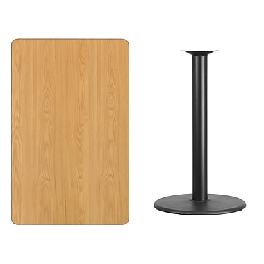 Flash Furniture 30'' x 48'' Rectangular Laminate Table Top, Natural with 24'' Round Bar-Height Table Base (XUNT3048TR24B)
