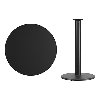 Flash Furniture 36'' Round Laminate Table Top, Black with 24'' Round Bar-Height Table Base (XURD36BKTR24B)