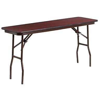 Flash Furniture 18'' x 60'' Rectangular Melamine Laminate Folding Training Table, Mahogany (YT1860MELWAL)
