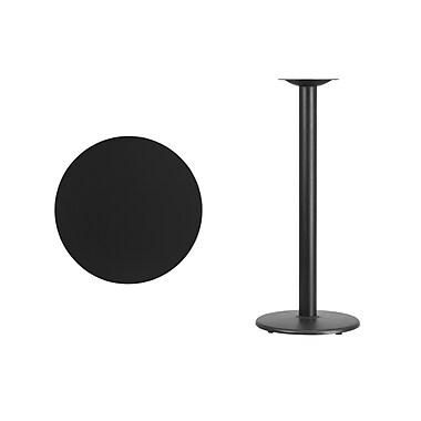 Flash Furniture 24'' Round Laminate Table Top, Black with 18'' Round Bar-Height Table Base (XURD24BKTR18B)