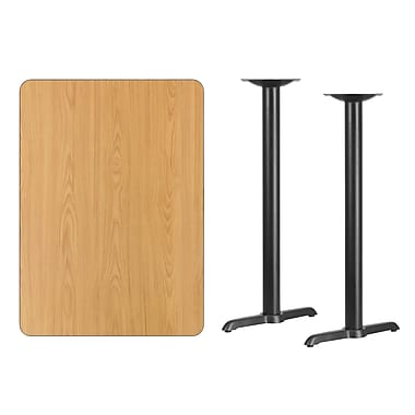 Flash Furniture – Table bistro en stratifié au fini naturel de 30 x 42 po avec 2 bases de 5 x 22 po (XUNT3042T0522B)