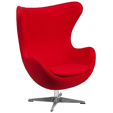 Flash Furniture Wool Fabric Egg Chair with Tilt-Lock Mechanism, Red, ZB14
