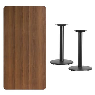 Flash Furniture – Table bistro en stratifié noyer de 30 x 60 po avec 2 bases circulaires de 18 L po (XUWA3060TR18)