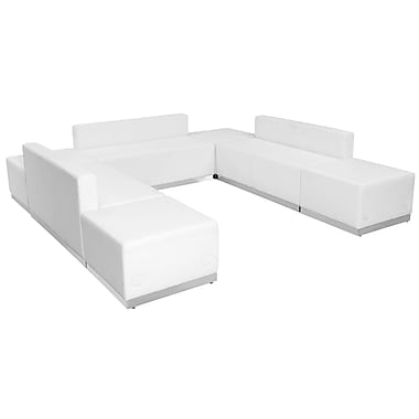 Flash Furniture Hercules Alon Series Leather Reception Configuration, 7 Pieces, White (ZB803660SWH)