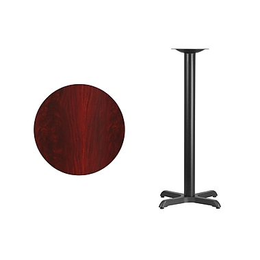 Flash Furniture 24'' Round Laminate Table Top, Mahogany with 22'' x 22'' Bar Height Table Base (XURD24MAT2222B)