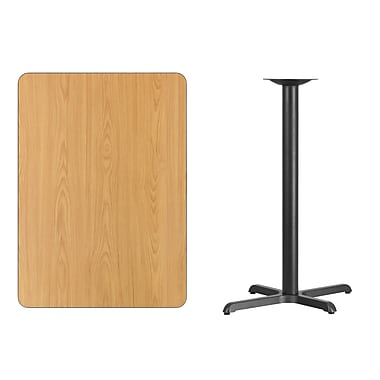 Flash Furniture 30'' x 42'' Rectangular Laminate Table Top, Natural with 22'' x 30'' Bar-Height Table Base (XUNT3042T2230B)