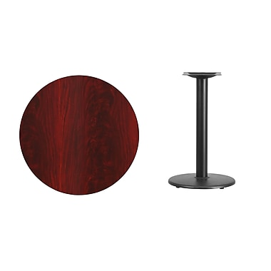 Flash Furniture 30''L Laminate Round Table with 18''W Round Table Height Base, Mahogany (XURD30MATR18)