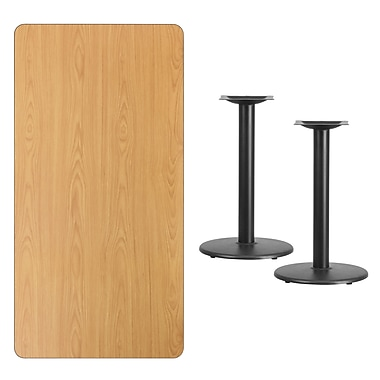 Flash Furniture 30'' x 60'' Rectangular Laminate Table Top, Natural with 18'' Round Table-Height Bases (XUNT3060TR18)
