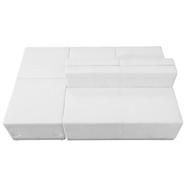 Flash Furniture – Mobilier de réception HERCULES Alon en cuir blanc, 4 modules (ZB803880SWH)
