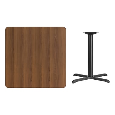Flash Furniture 36'' Square Laminate Table Top, Walnut with 30'' x 30'' Table-Height Base (XUWA3636T3030)