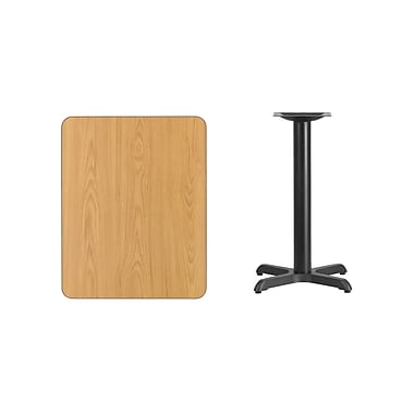 Flash Furniture 24'' x 30'' Rectangular Laminate Table Top, Natural with 22'' x 22'' Table-Height Base (XUNT2430T2222)