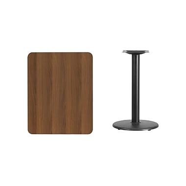 Flash Furniture 24'' x 30'' Rectangular Laminate Table Top, Walnut with 18'' Round Table-Height Base (XUWA2430TR18)