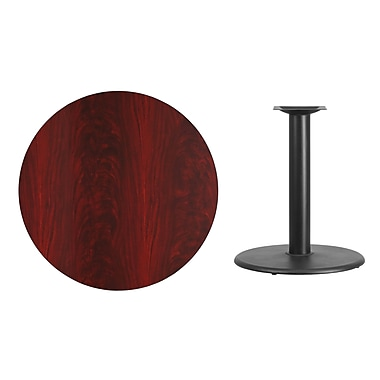 Flash Furniture 36'' Round Laminate Table Top, Mahogany with 24'' Round Table-Height Base (XURD36MATR24)
