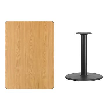 Flash Furniture 30'' x 42'' Rectangular Laminate Table Top, Natural with 24'' Round Table-Height Base (XUNT3042TR24)