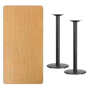 Flash Furniture – Table bistro en stratifié fini naturel de 30 x 60 po avec 2 bases circulaires de 18 po (XUNT3060TR18B)