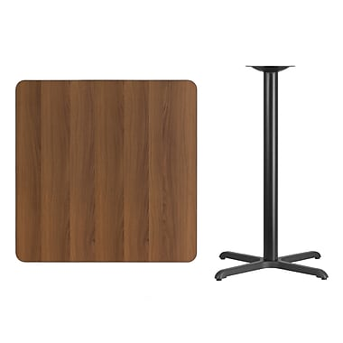 Flash Furniture 36'' Square Walnut Laminate Table Top with 30'' x 30'' Bar Height Table Base, Black (XUWA3636T3030B)