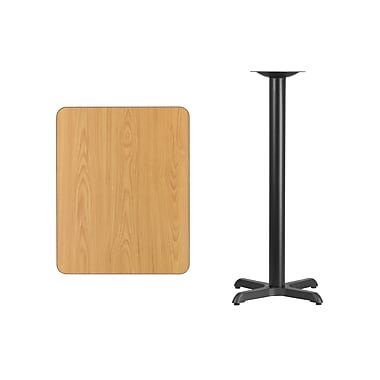 Flash Furniture 24'' x 30'' Rectangular Laminate Table Top, Natural with 22'' x 22'' Bar-Height Table Base (XUNT2430T2222B)