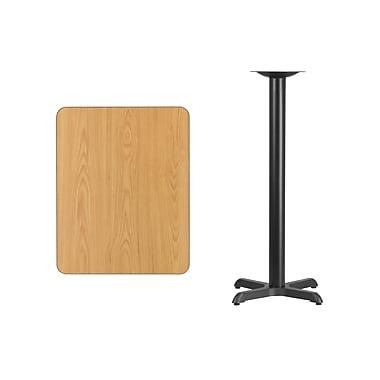 Flash Furniture – Table bistro en stratifié au fini naturel de 24 x 30 po avec base de 22 x 22 po (XUNT2430T2222B)