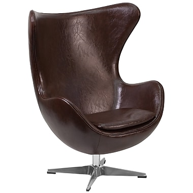 Flash Furniture Brown Leather Egg Chair with Tilt-Lock Mechanism (ZB11)