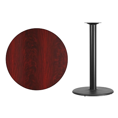 Flash Furniture 36'' Round Laminate Table Top, Mahogany with 24'' Round Bar-Height Table Base (XURD36MATR24B)