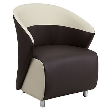 Flash Furniture Leather Reception Chair, Dark Brown with Beige Detailing (ZB8BNBGE)