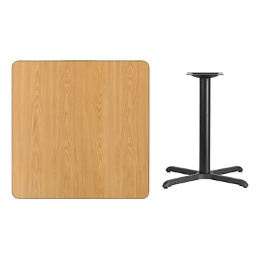 Flash Furniture 36'' Square Laminate Table Top, Natural with 30'' x 30'' Table-Height Base (XUNT3636T3030)