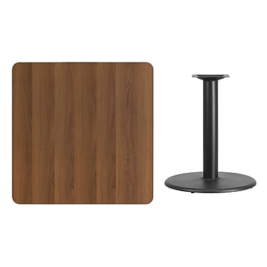 Flash Furniture 36'' Square Laminate Table Top, Walnut with 24'' Round Table-Height Base (XUWA3636TR24)