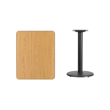 Flash Furniture 24'' x 30'' Rectangular Laminate Table Top, Natural with 18'' Round Table-Height Base (XUNT2430TR18)