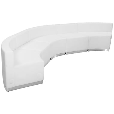 Flash Furniture Hercules Alone Series Leather Reception Configuration, 5 Pieces, White (ZB803820SWH)
