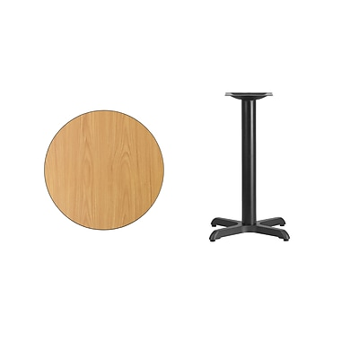Flash Furniture 24'' Round Laminate Table Top, Natural with 22'' x 22'' Table-Height Base (XURD24NTT2222)